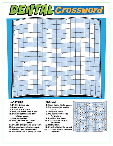 Dental Crossword Puzzle Activity Sheet